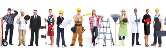 Personen in verschiedener Berufskleidung